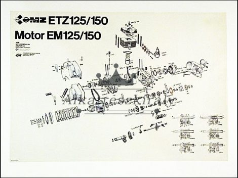 SZERELÉSI ÁBRA ETZ150 (Motor-robogó alkatrész)