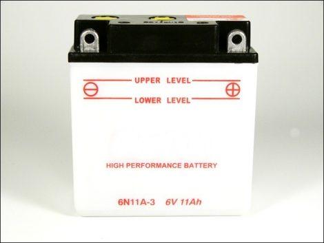 AKKU.  6V 11AH SZÁRAZ 121x58x130 (Motor-robogó alkatrész)